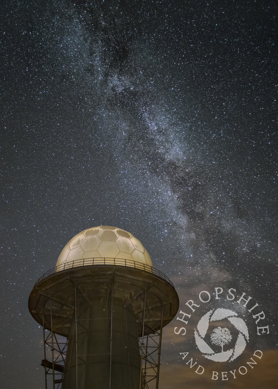 The Milky Way above a radar dome on Titterstone Clee, Shropshire.