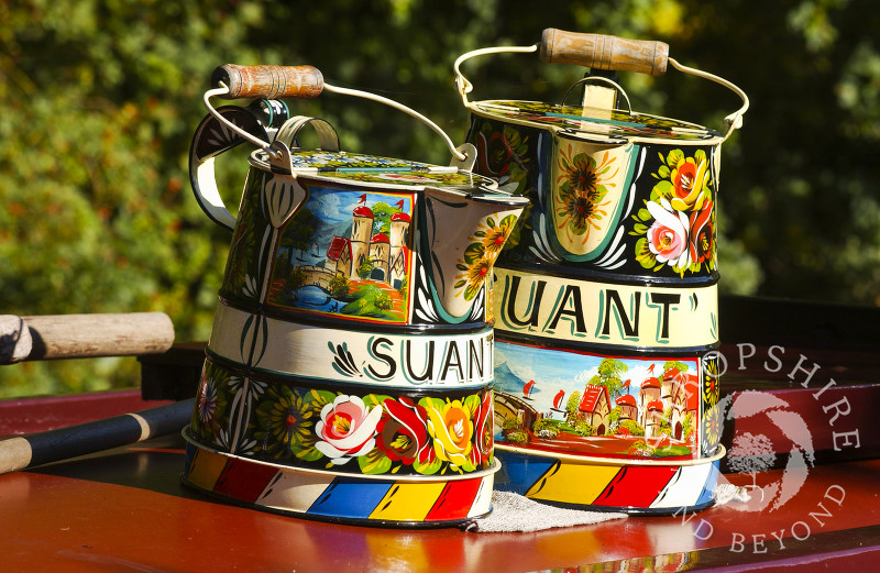 Traditional canal ware on a narrowboat at Ellesmere, Shropshire, England.