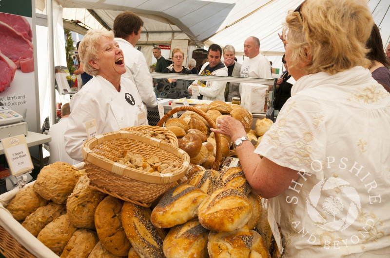 A bread stall at Ludlow Food Festival, Shropshire, England.