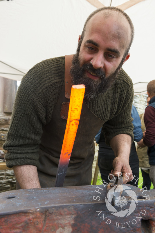 Joel Black creating one of his kitchen knives at the 2017 Ludlow Spring Festival.