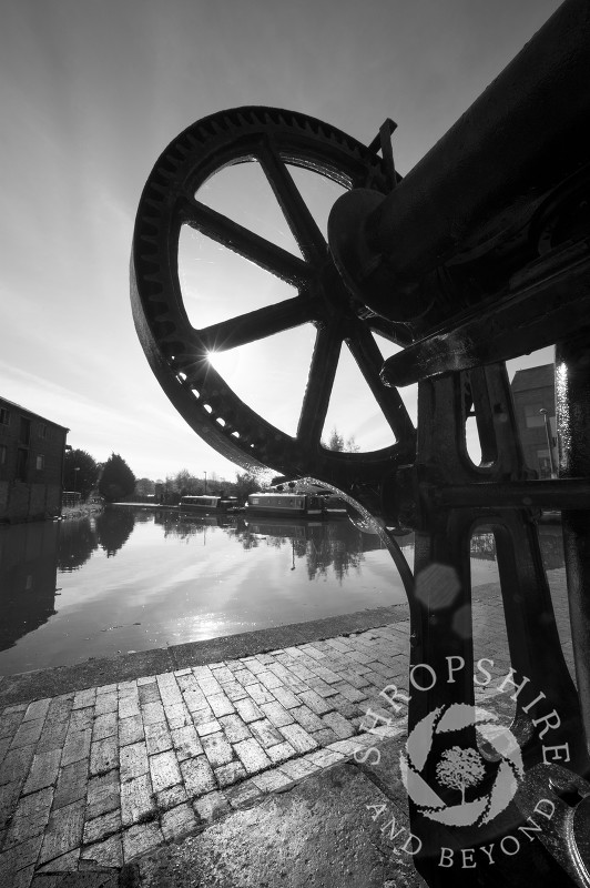 Black and white study of industrial remains at Ellesmere Wharf on the Llangollen Canal, Shropshire, England.