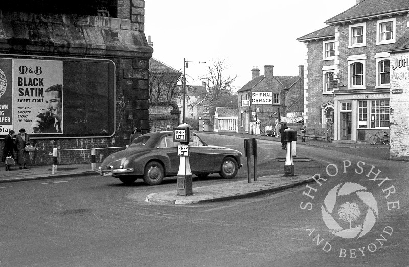 The post office and Shifnal Garage pictured in Victoria Road, Shifnal, Shropshire, 1965.