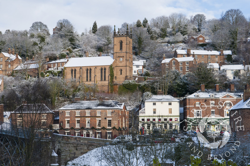 Ironbridge under a blanket of snow, Shropshire, England.