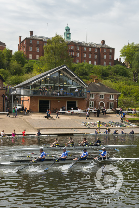 Shrewsbury School overlooks rowing boats on the River Severn during the annual regatta at Shrewsbury, Shropshire.