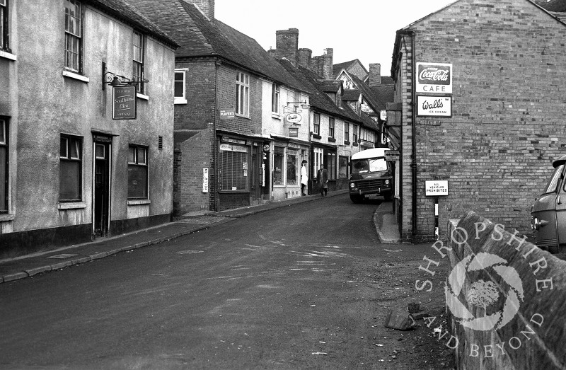Church Street with the Old Bell public house and Niblett's shop in Shifnal, Shropshire, in 1965.