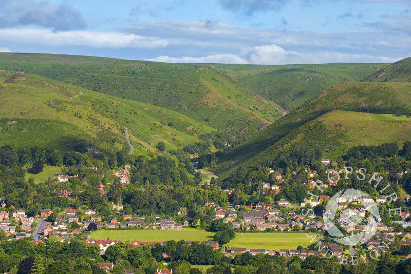 The town of Church Stretton and Carding Mill Valley seen from Gaer Stone in South Shropshire.