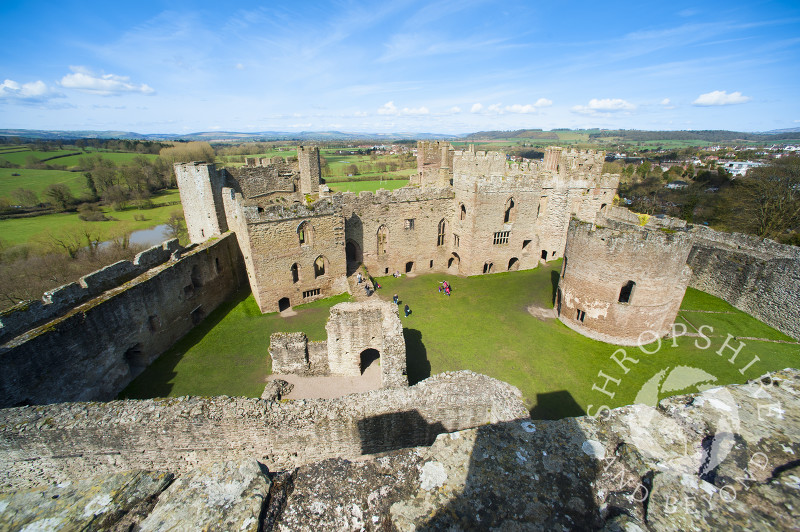 A view of the Great Hall and round chapel at Ludlow Castle, Shropshire.