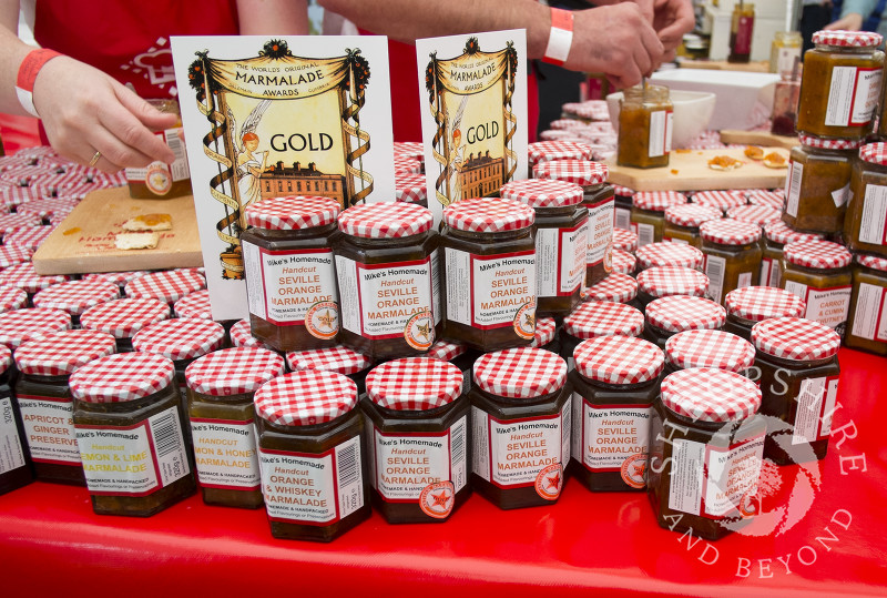 Jars of marmalade for sale on Mike's Homemade stall at the 2014 Ludlow Food Festival, Shropshire, England.