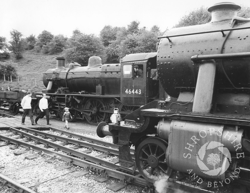 Steam locomotives 46443 and 48773 at Bridgnorth Station on the Severn Valley Railway, Shropshire, 1968.