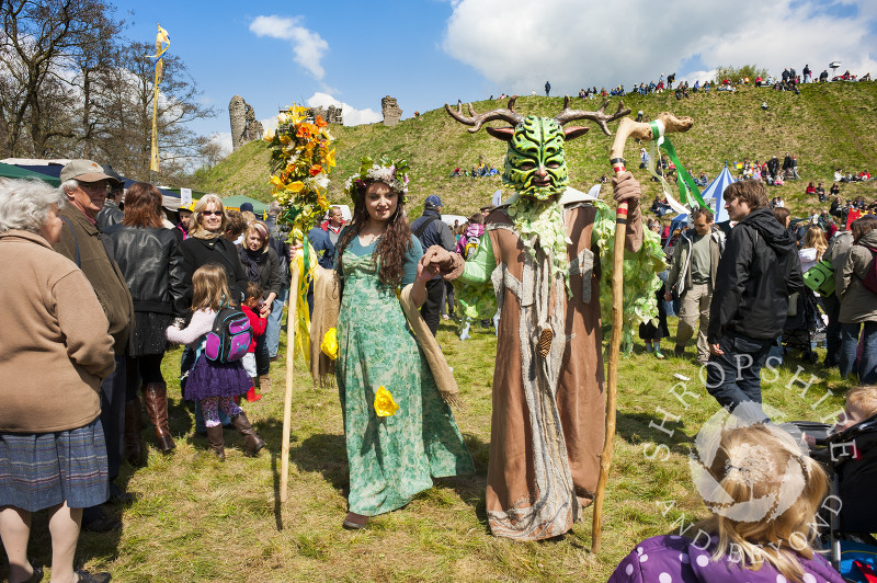 The May Queen and Green Man at the Clun Green Man Festival, Shropshire.