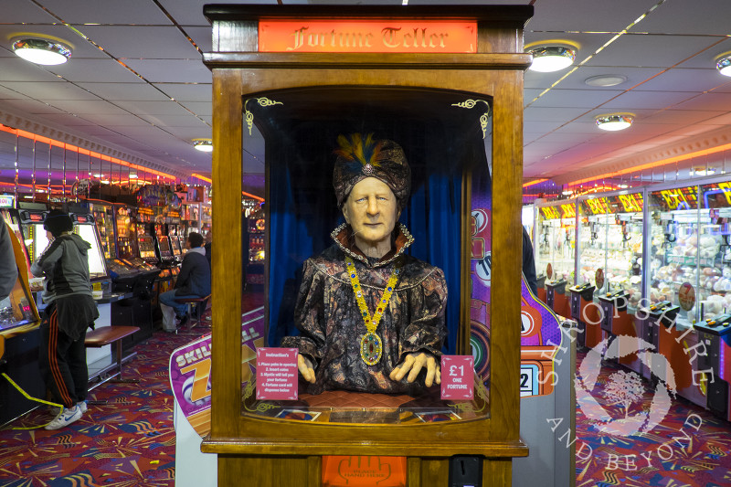 Fortune telling machine in an arcade at Llandudno, north Wales.