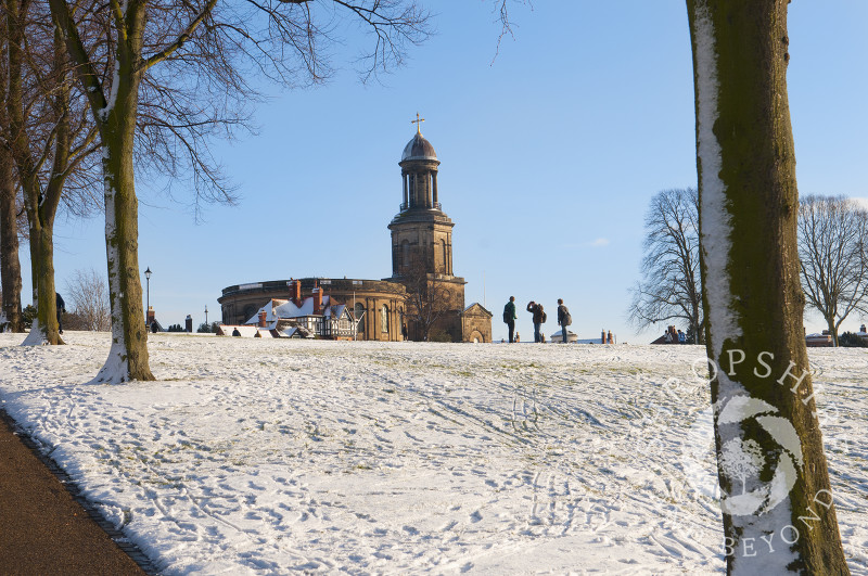 The Quarry and St Chad's Church in winter, Shrewsbury, Shropshire, England.