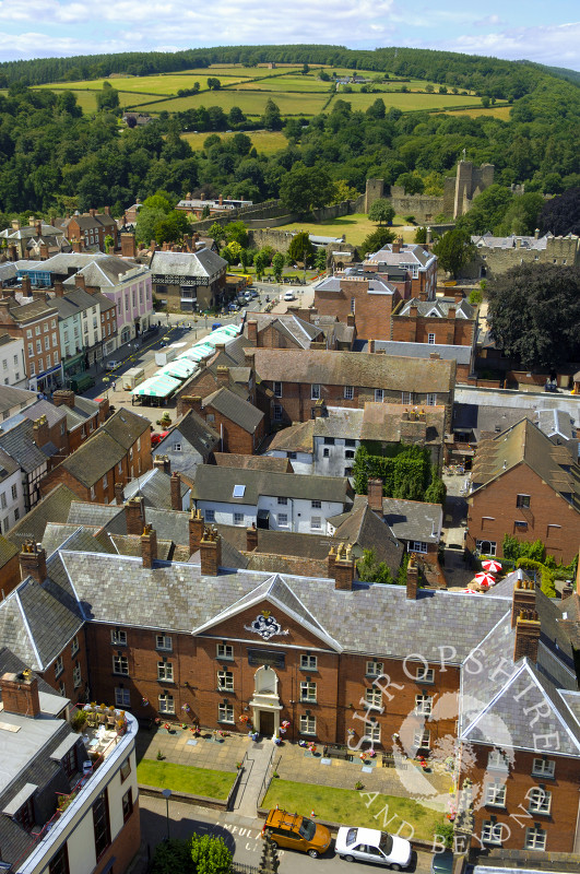 The market town of Ludlow seen from the tower of St Laurence's Church, Shropshire, England.