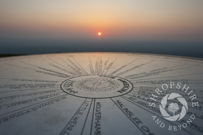 Sunset picks out the toposcope on the Wrekin, Shropshire, England.