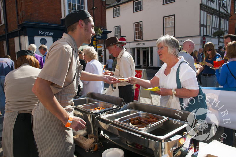 Visitors on the Sausage Trail at Ludlow Food Festival, Shropshire, England.