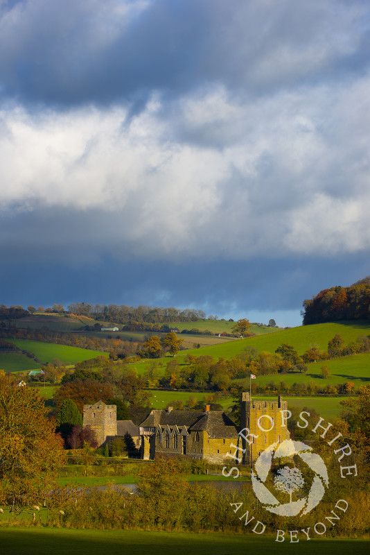 An autumn view of Stokesay Castle and St John the Baptist's Church, Shropshire, England.