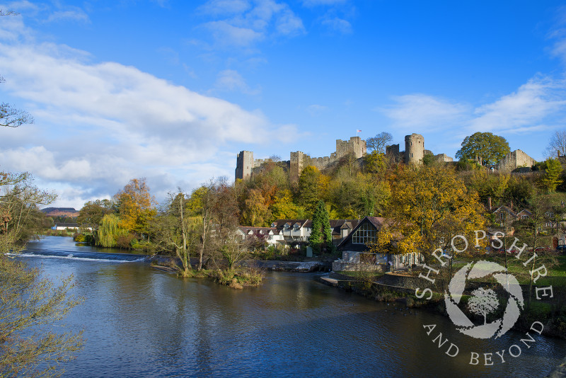 Ludlow Castle and the River Teme in autumn, Ludlow, Shropshire, England.