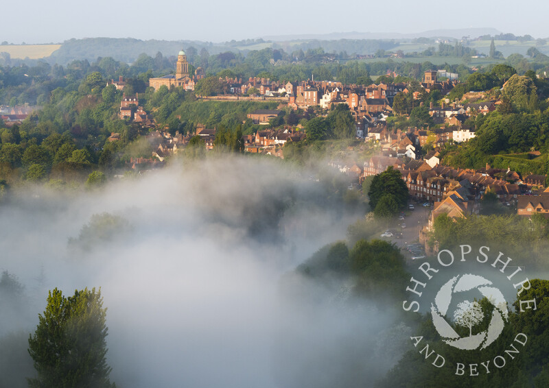 Early morning mist over the River Severn and Bridgnorth, Shropshire.