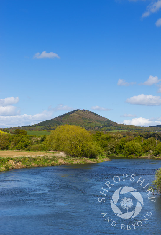 The River Severn and the Wrekin seen from the village of Cressage, Shropshire, England.