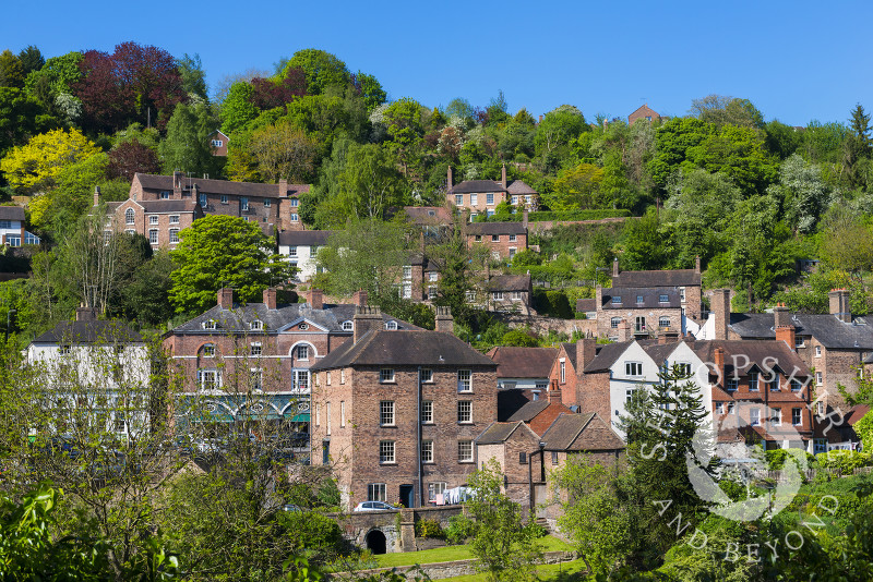 Bright spring sunshine at Ironbridge, Shropshire,