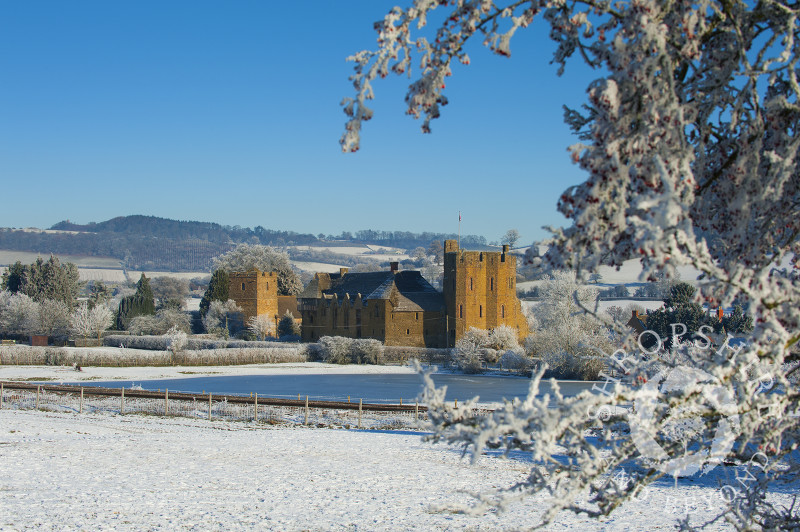 Stokesay Castle in winter snow, Shropshire, England.