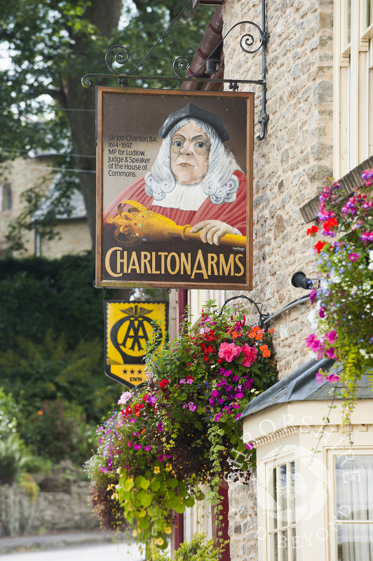 The Charlton Arms pub at Ludford Bridge in Ludlow, Shropshire.