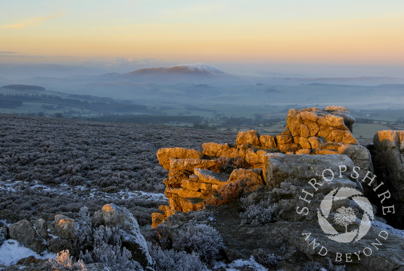Winter sunrise on the Stiperstones, looking to Corndon Hill, Shropshire, England.