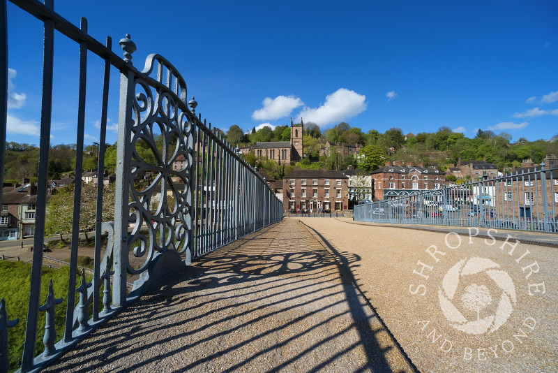 St Luke's Church and the Tontine Hotel seen from the Iron Bridge in Ironbridge, Shropshire, England.