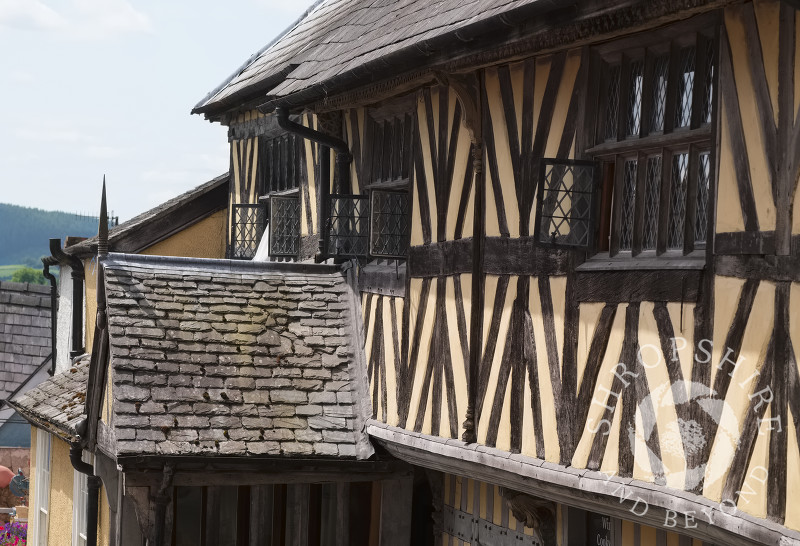 The half-timbered Porch House in High Street, Bishop's Castle, Shropshire, England.
