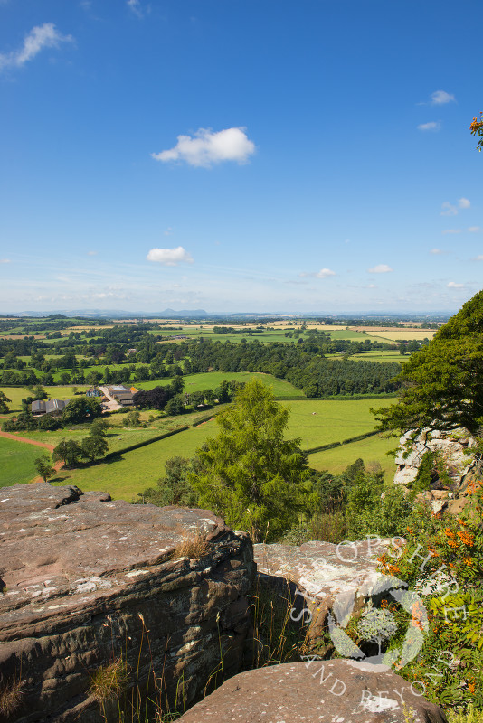 Looking out over the north Shropshire countryside from Grinshill Hill, Shropshire, England.