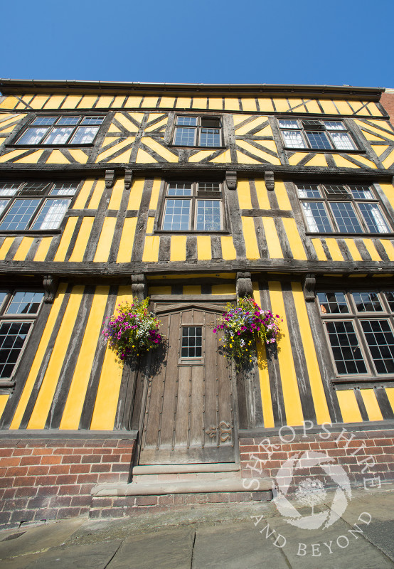 The facade of a half-timbered house in Broad Street, Ludlow, Shropshire, England.