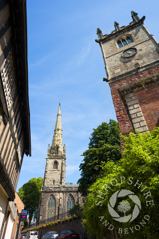 The churches of St Julian and St Alkmund in Shrewsbury, Shropshire, England.