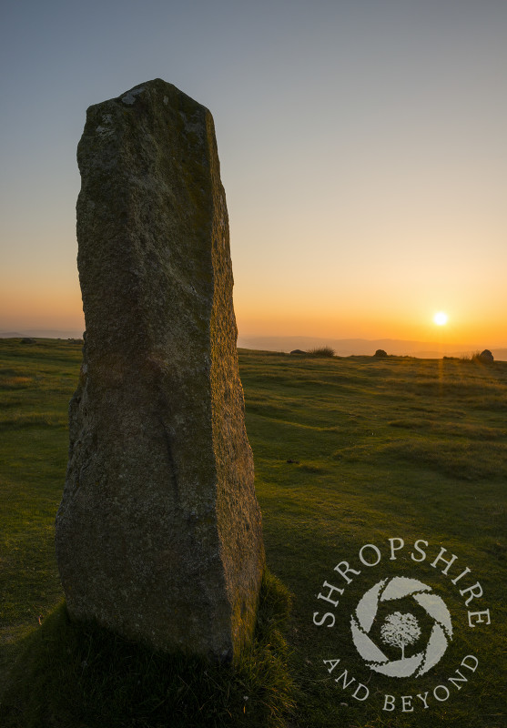 Sunset at Mitchell's Fold stone circle on Stapeley Hill, near Priest Weston, Shropshire.