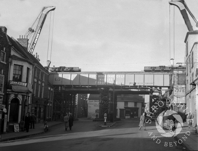 The new railway bridge made by the Horsehay Co Ltd, Shifnal, Shropshire, 1953.