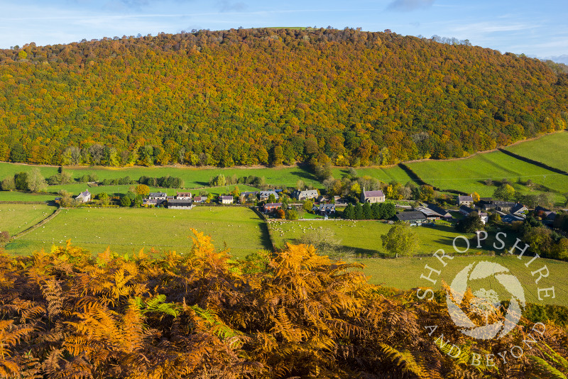 Autumn colour surrounds the village of Chapel Lawn, near Clun, in Shropshire.
