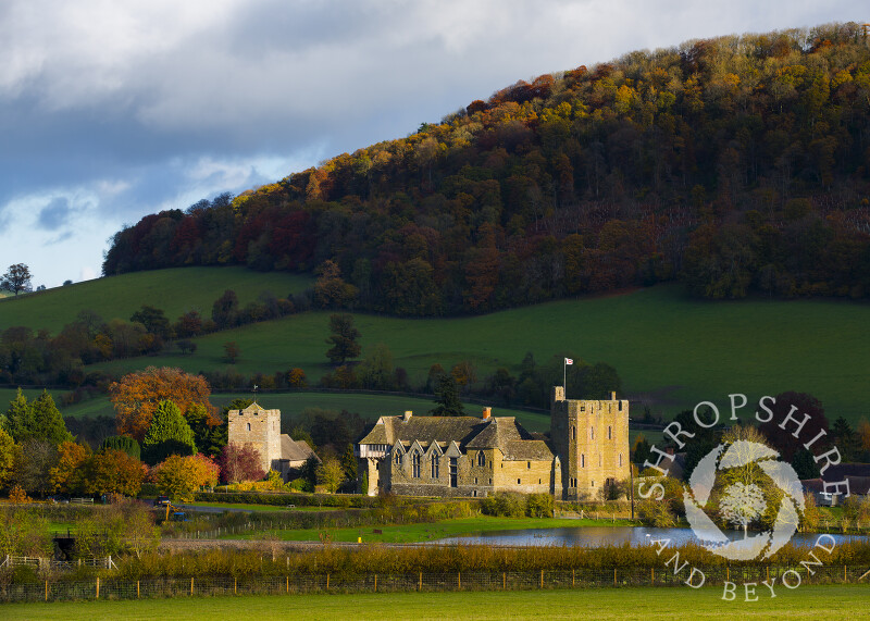 The fortified manor house of Stokesay Castle and Church of St John the Baptist in autumn, Shropshire.