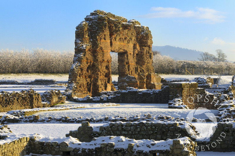 Winter snow at Wroxeter Roman city (Viroconium) near Shrewsbury, Shropshire, England.