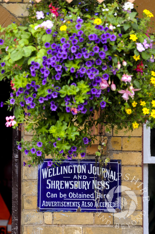 Flowers above an old advertising sign on the platform at Hampton Loade Station, Severn Valley Railway, Shropshire, England.