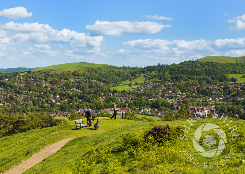 Golfing in the Shropshire Hills on the Long Mynd at Church Stretton, Shropshire, England.