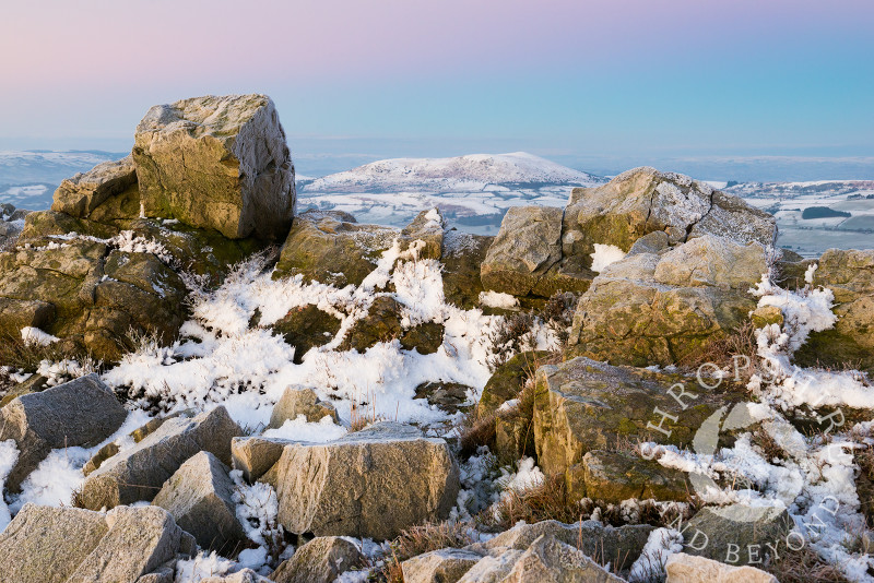 Corndon Hill, seen from the summit of the Stiperstones, Shropshire, England.