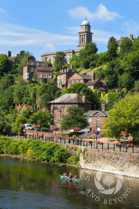 St Mary's Church overlooking canosists on the River Severn at Bridgnorth, Shropshire.