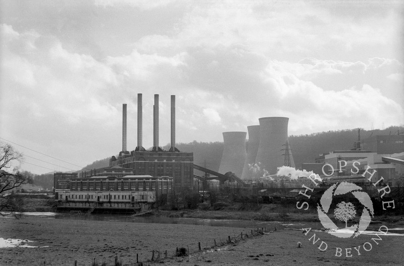 Ironbridge A and B power stations in 1968, Shropshire, England.