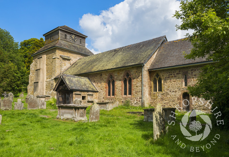 St Mary's Church in the village of Hopesay, near Craven Arms, Shropshire.