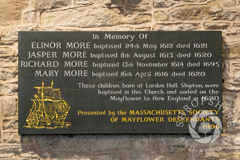 Memorial tablet in St James' Church, Shipton, Shropshire, to children of the More family who sailed to America on the Mayflower in 1620