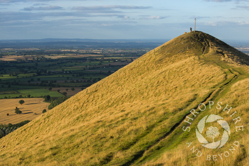 Walkers and their dogs on the summit of the Lawley, Shropshire.