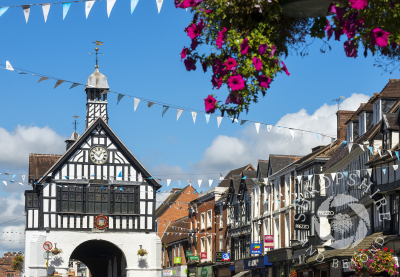 The Town Hall and High Street at Bridgnorth, Shropshire.