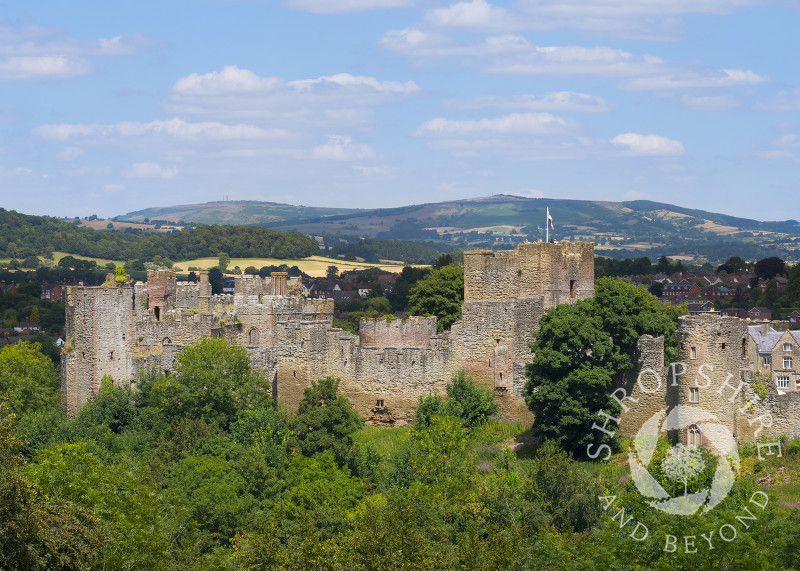 Ludlow Castle and Brown Clee seen from Whitcliffe Common, Shropshire.
