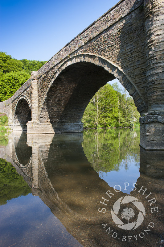 The arches of Dinham Bridge reflected in the River Teme at Ludlow, Shropshire.