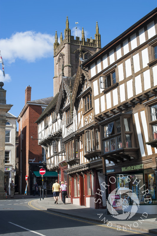 Half-timbered buildings and the tower of St Laurence's Church, Ludlow, Shropshire.