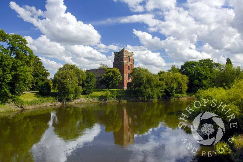 St Eata's Church reflected in the River Severn at Atcham, Shropshire.